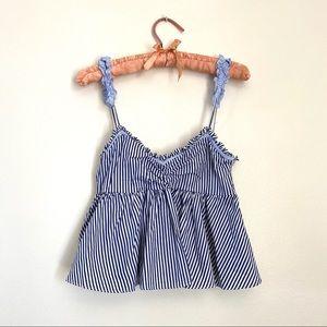 ZARA ruffle sleeve striped blue and white top
